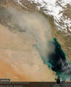Terra MODIS image of Shamal Wind Dust Storm over the Persian Gulf