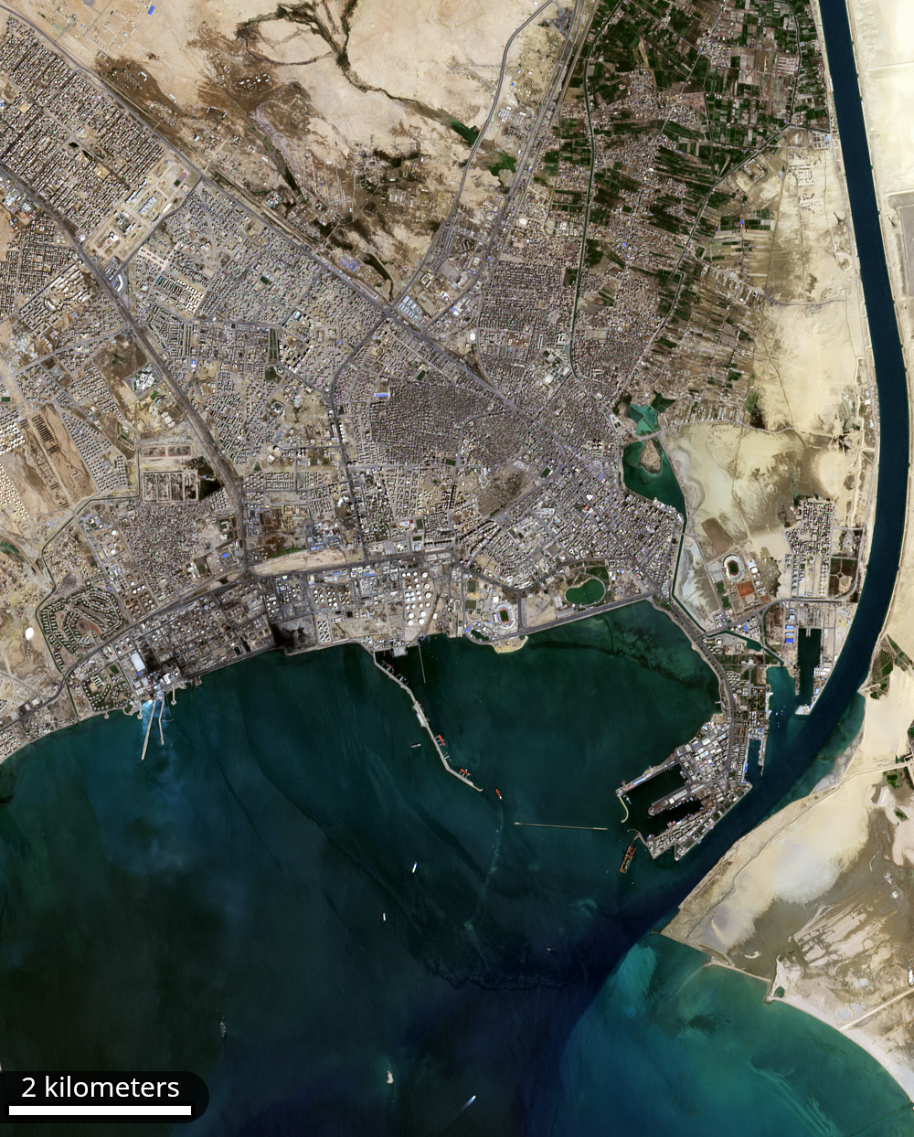 The city of Suez, the port of Tawfiq, and the entrance to the Suez Canal
