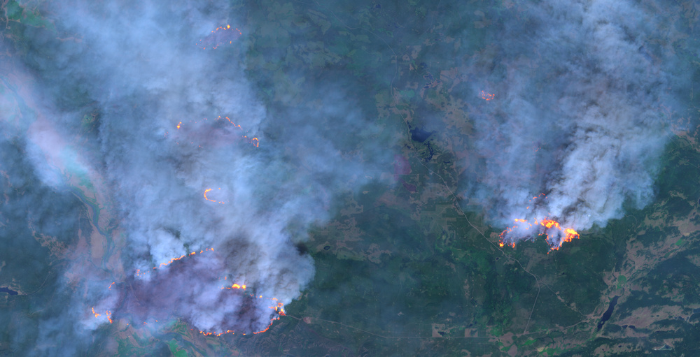 Wildfires near Hanceville, British Columbia, Canada. Processed in Sinergise EO Browser