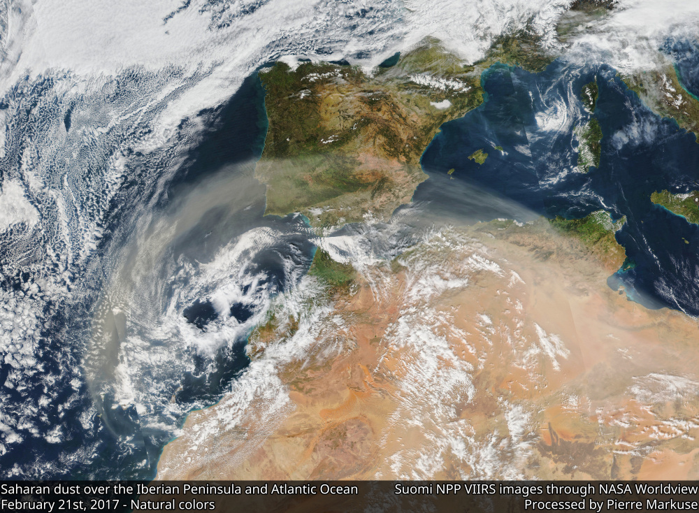 Saharan dust over the Iberian Peninsula and the Atlantic Ocean