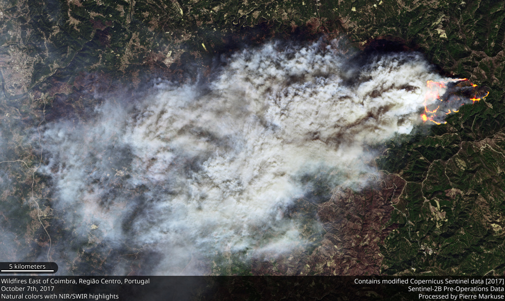 Wildfire east of Coimbra, Portugal