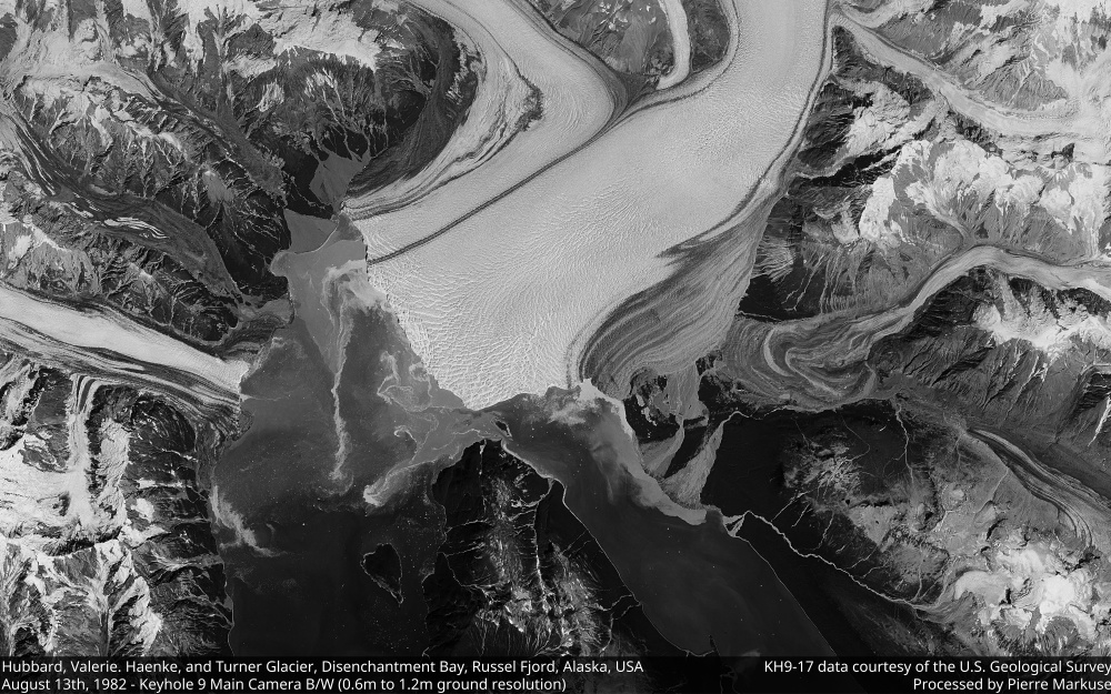 Glaciers in Alaska in 1982 as imaged by a spy satellite