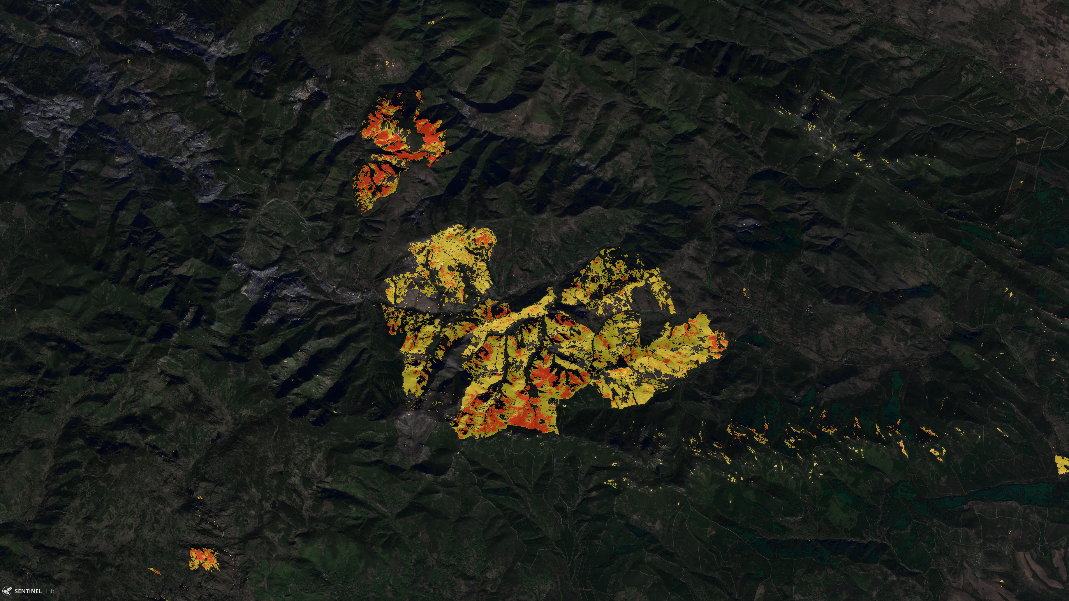 visualizing wildfires and burn scars with the sentinel hub eo