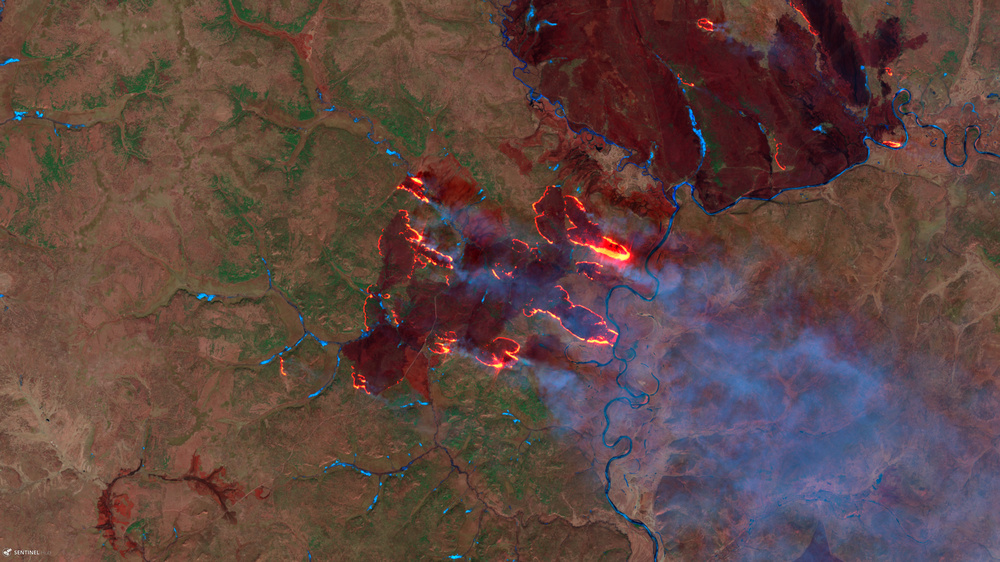 Sentinel-2 image of wildfires in the Amur Oblast, Russia