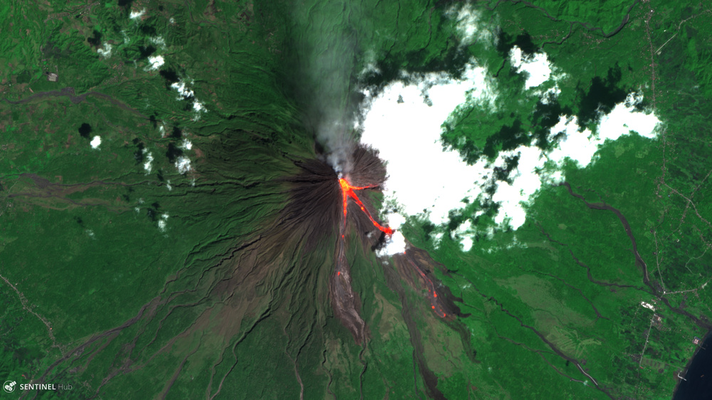 Sentinel-2 image of the Mount Mayon volcano with lava flows