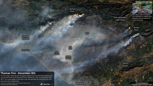 Sentinel-2 Thomas Fire image