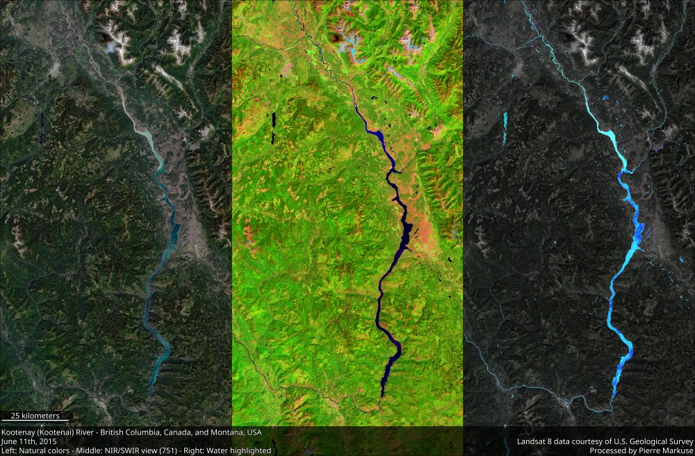 Landsat 8 images of the Kootenay River, British Columbia, Canada.