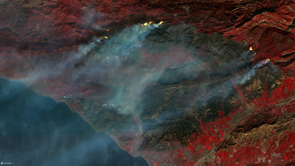 Sentinel-2 false color image of the Thomas Fire in California, USA.