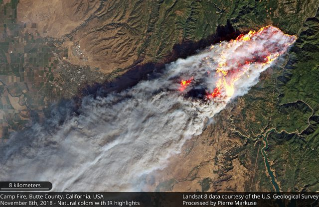 Landsat 8 image of the Camp Fire