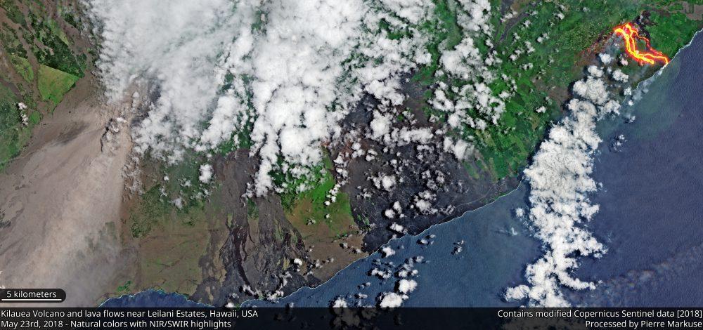 Kilauea volcano lava flows