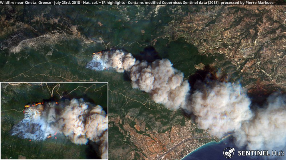 Wildfires near Kineta, Greece