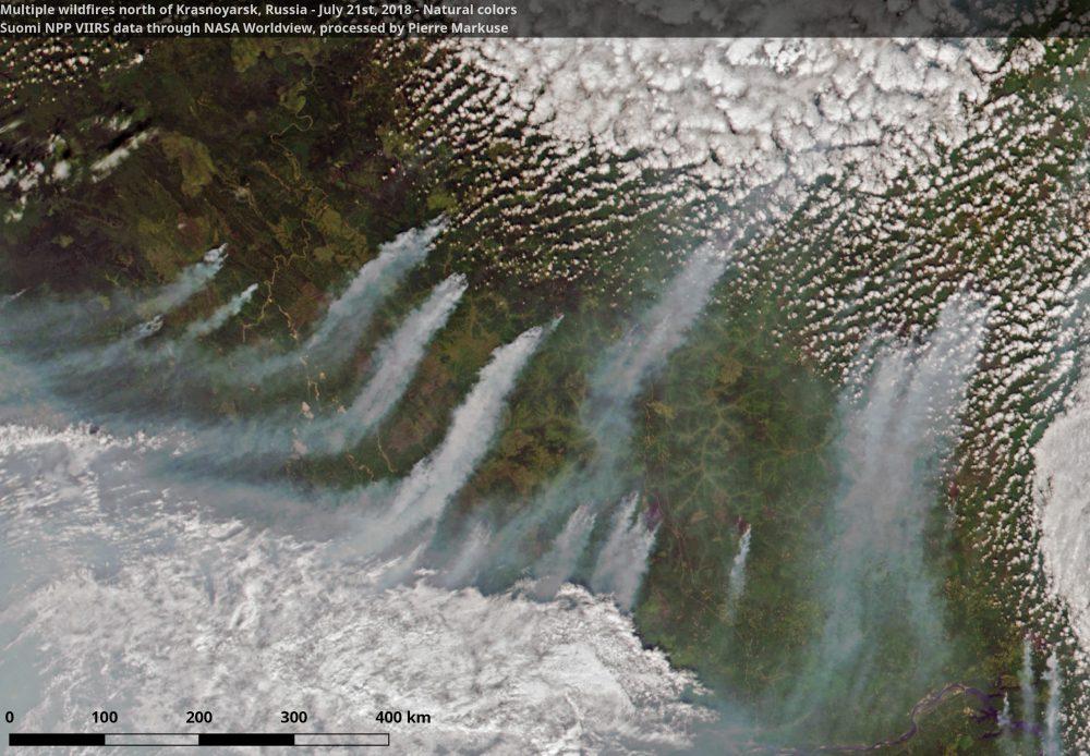 Wildfires north of Krasnoyarsk