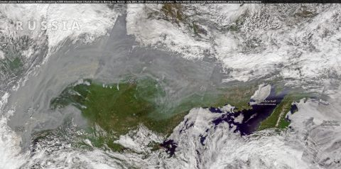 Smoke plumes over Russia