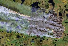 Wildfire in the Sakha Republic at about 71°N, Siberia, Russia - August 12th