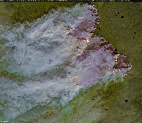 Wildfire at about 64°N in the Mirninsky District of the Sakha Republic, Russia - July 22nd, 2019
