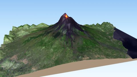 Mount Etna Volcano 3D showing lava flows, based on a Sentinel-2 image from July 27th, 2019