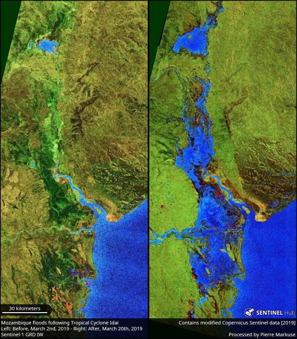 Mozambique floods caused by tropical cyclone Idai comparison before (March 2nd) and after (March 20th) Copernicus/Pierre Markuse