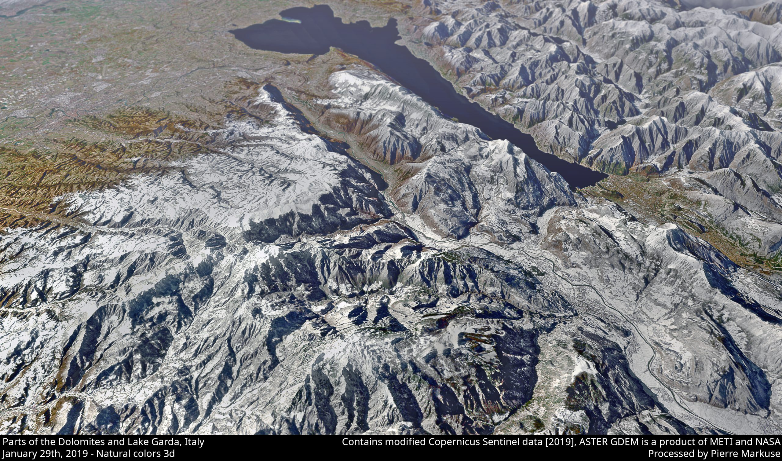 Parts of the Dolomites and Lake Garda, Italy - 3d view - Copernicus/Pierre Markuse