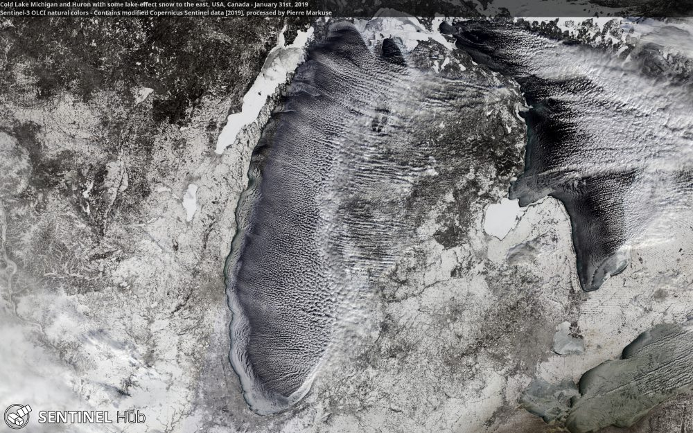 Lake Michigan and Lake Huron with some lake-effect snow to the east, USA, Canada - Copernicus/Pierre Markuse