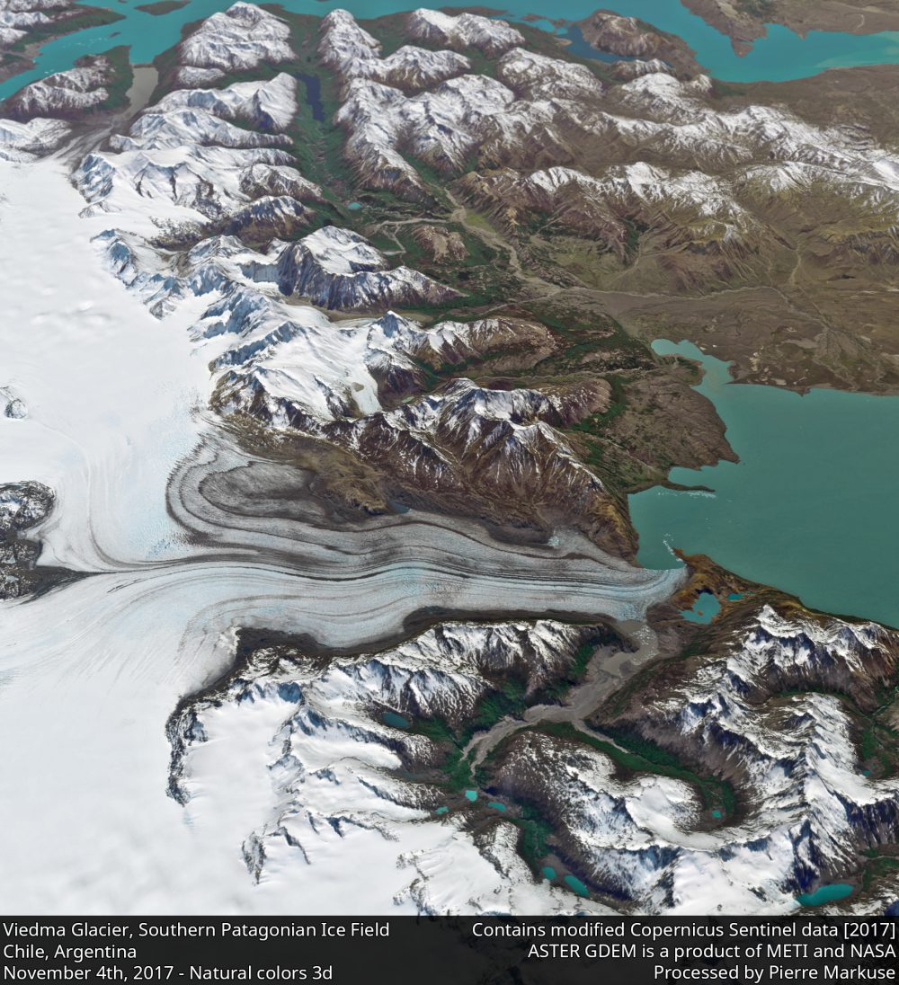 Viedma Glacier, Lake Viedma, Southern Patagonian Ice Field, Chile, Argentina 3d view Copernicus/Pierre Markuse
