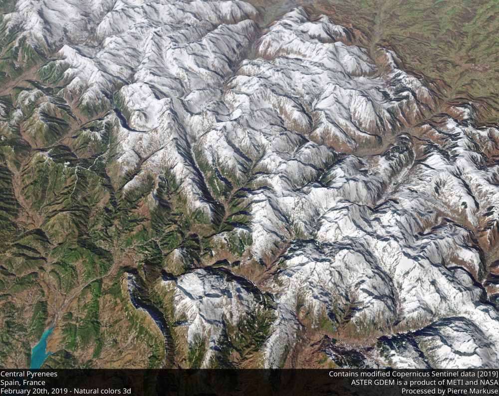 Central Pyrenees, Spain, France 3d view Copernicus/Pierre Markuse
