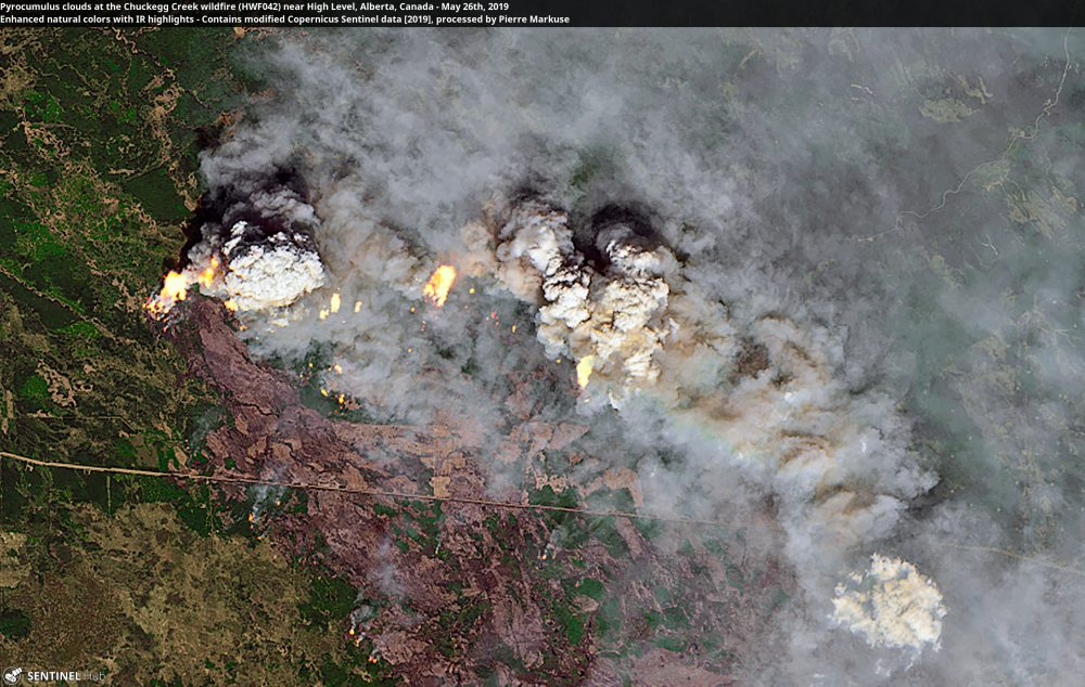 Pyrocumulus clouds at the HWF042 wildfire near High Level, Alberta, Canada Copernicus/Pierre Markuse