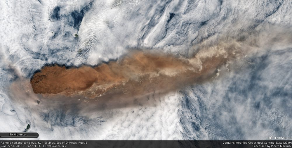 Raikoke Volcano ash cloud, Kuril Islands, Sea of Okhotsk, Russia Copernicus/Pierre Markuse