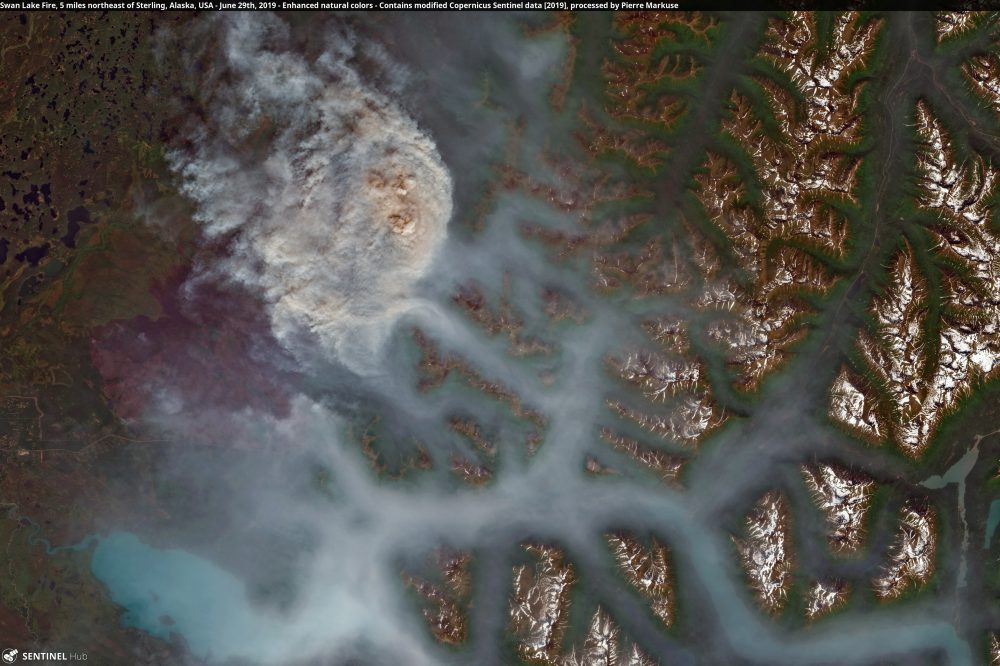 Swan Lake Fire, 5 miles northeast of Sterling, Alaska, USA Copernicus/Pierre Markuse