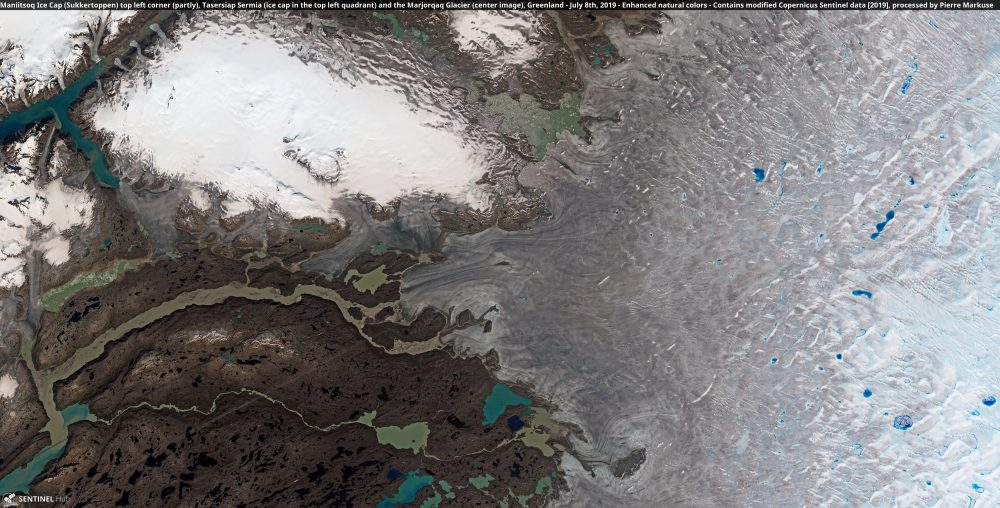 Maniitsoq Ice Cap (Sukkertoppen) top left corner (partly), Tasersiap Sermia (ice cap in the top left quadrant) and the Marjorqaq Glacier (center image), Greenland Copernicus/Pierre Markuse