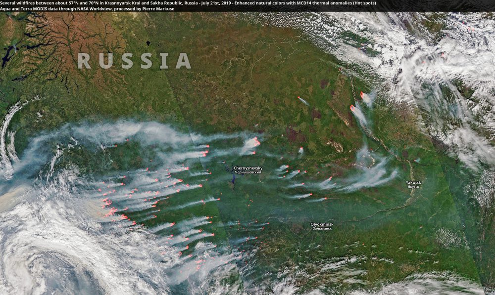 Several wildfires between about 57°N and 70°N in Krasnoyarsk Krai and Sakha Republic, Russia