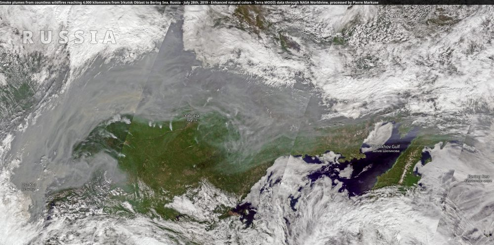 Smoke plumes from countless wildfires reaching 4,000 kilometers from Irkutsk Oblast to Bering Sea, Russia
