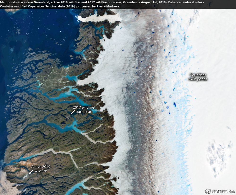Melt ponds in western Greenland, active 2019 wildfire, and 2017 wildfire burn scar, Greenland - August 1st, 2019 Copernicus/Pierre Markuse