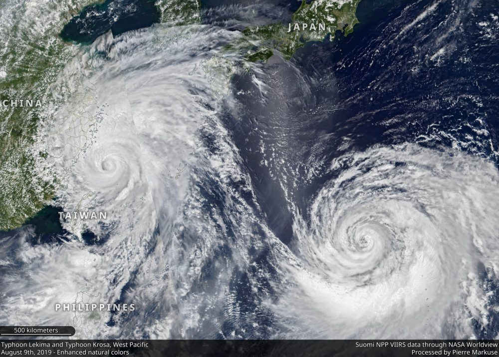 Typhoon Lekima and Typhoon Krosa, West Pacific - August 9th, 2019