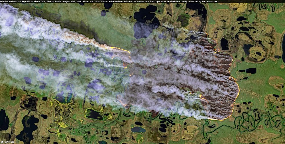 Wildfire in the Sakha Republic at about 71°N, Siberia, Russia - August 12th Copernicus/Pierre Markuse