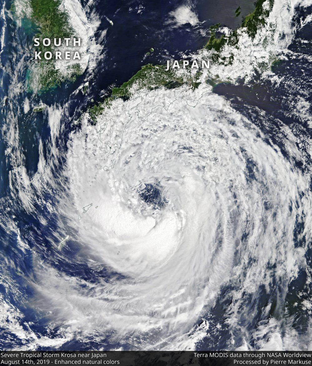 Severe Tropical Storm Krosa near Japan - August 14th, 2019