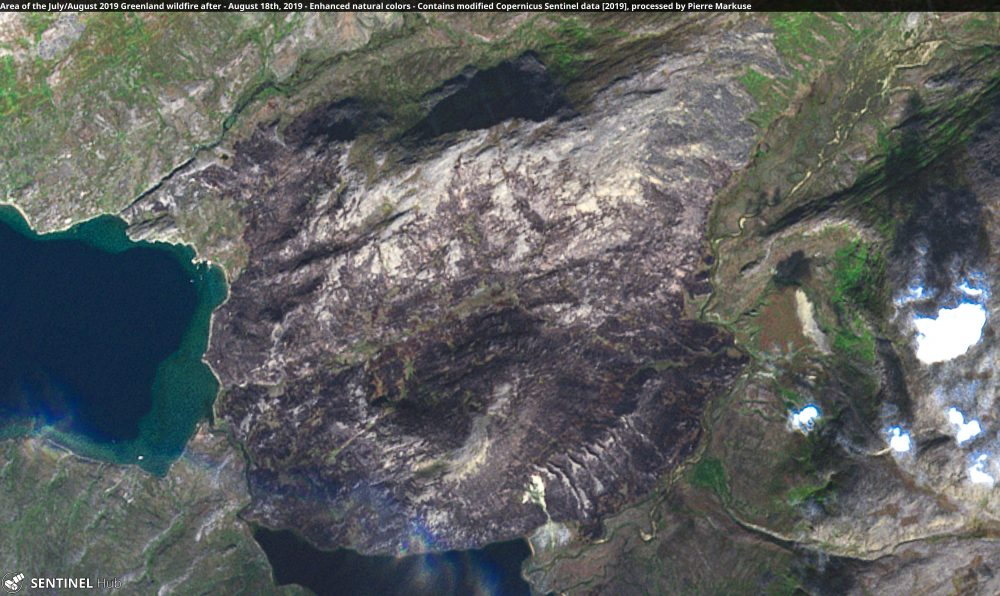 Area of the July/August 2019 Greenland wildfire after Copernicus/Pierre Markuse