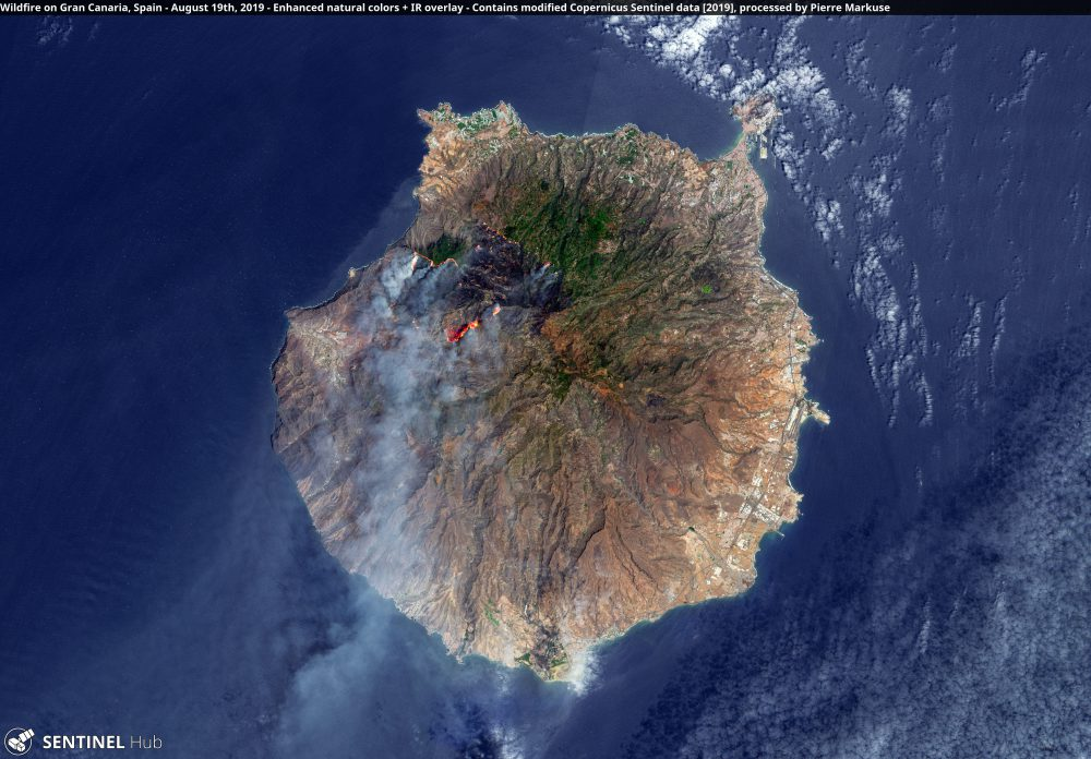 Wildfire on Gran Canaria, Spain - August 19th, 2019 Copernicus/Pierre Markuse