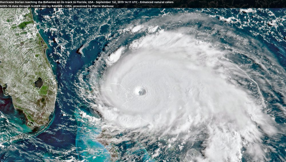 Hurricane Dorian reaching the Bahamas on its track to Florida, USA - September 1st, 2019 14.11 UTC