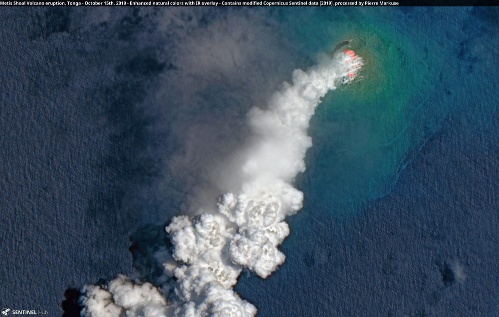 Metis Shoal Volcano eruption, Tonga - October 15th, 2019 Copernicus/Pierre Markuse