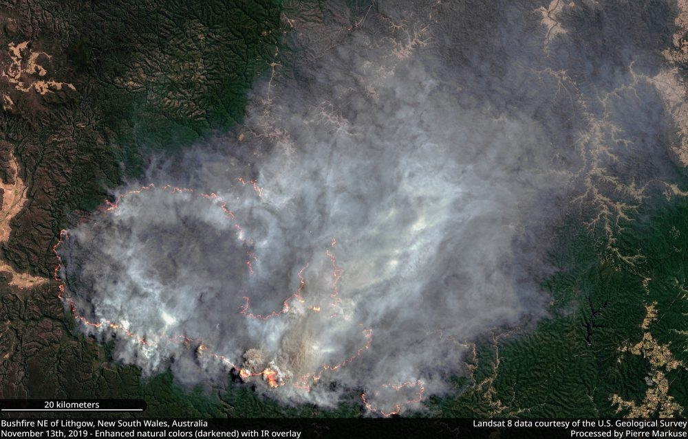 Bushfire NW of Lithgow, New South Wales, Australia - November 13th, 2019 Copernicus/Pierre Markuse