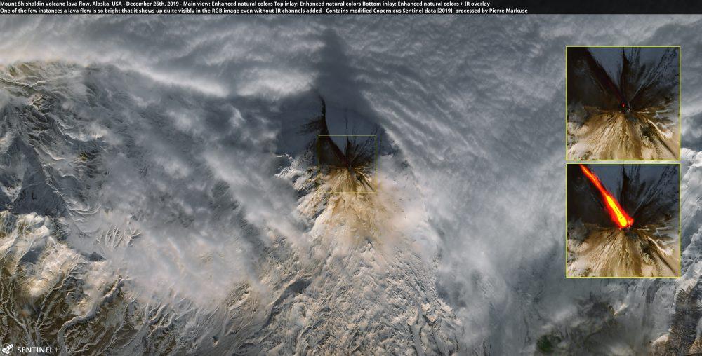 Mount Shishaldin Volcano lava flow, Alaska, USA - December 26th, 2019 Copernicus/Pierre Markuse