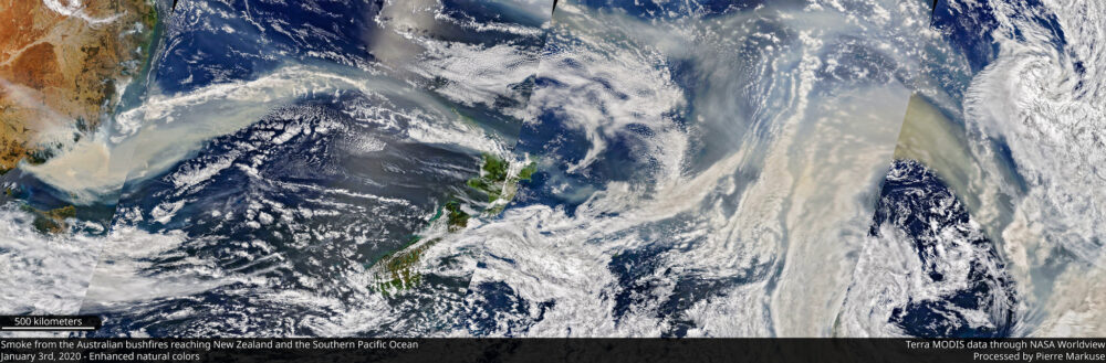 Smoke from the Australian bushfires reaching New Zealand and the Southern Pacific Ocean NASA/Pierre Markuse