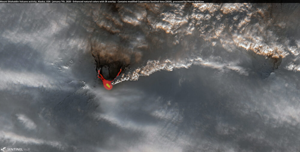Mount Shishaldin Volcano activity, Alaska, USA - January 7th, 2020 Copernicus/Pierre Markuse