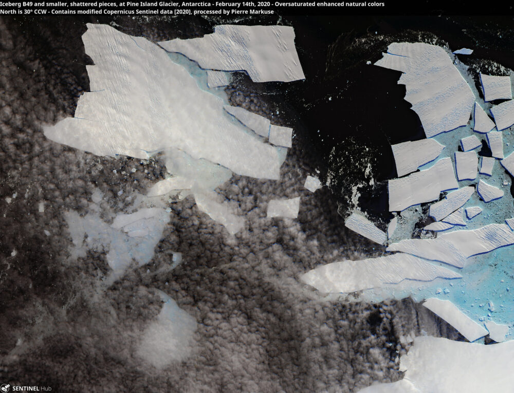 Iceberg B49 and smaller, shattered pieces, at Pine Island Glacier, Antarctica - February 14th, 2020 Copernicus/Pierre Markuse