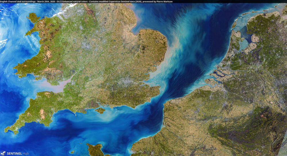 English Channel and surroundings - March 25th, 2020 Copernicus/Pierre Markuse