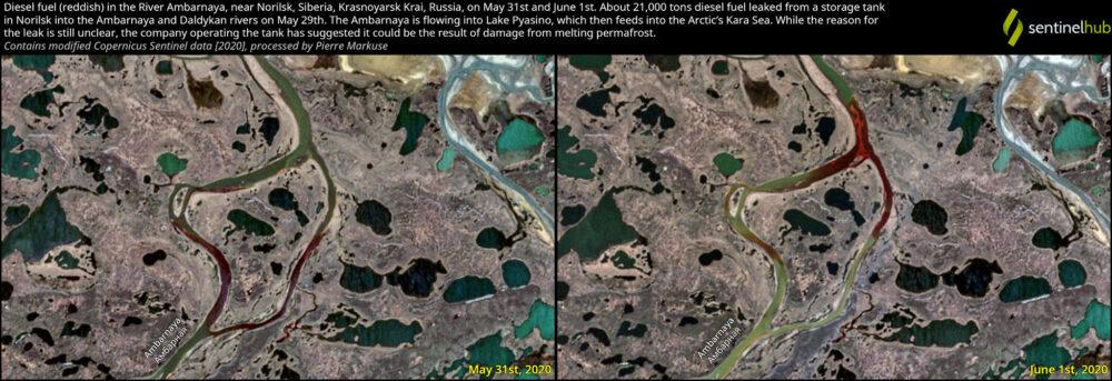 Leaked diesel fuel in the River Ambarnaya, near Norilsk, Siberia, Krasnoyarsk Krai, Russia, on May 31st and June 1st, 2020. Copernicus/Pierre Markuse