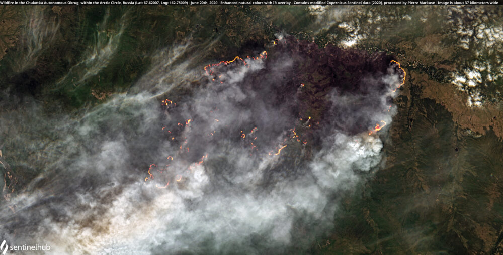 Wildfire in the Chukotka Autonomous Okrug, within the Arctic Circle, Russia (Lat: 67.62007, Lng: 162.75009) - June 20th, 2020 Copernicus/Pierre Markuse