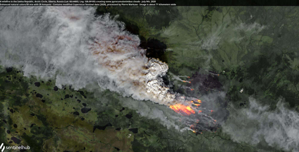 A wildfire in the Sakha Republic, Arctic Circle, Siberia, Russia (Lat: 68.64893, Lng: 108.09105) creating some pyrocumulonimbus clouds - July 9th, 2020 Copernicus/Pierre Markuse