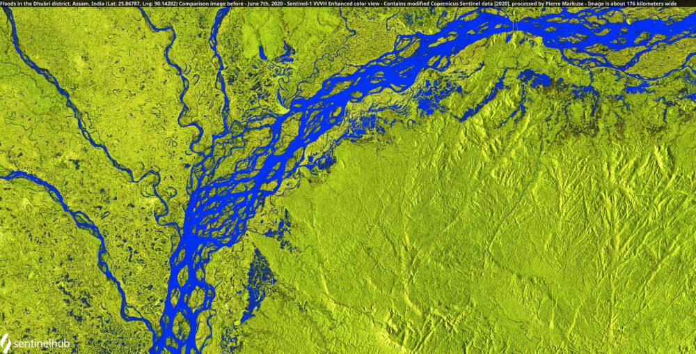 Floods in the Dhubri district, Assam, India (Lat: 25.86787, Lng: 90.14282) Comparison image before - June 7th, 2020 Copernicus/Pierre Markuse