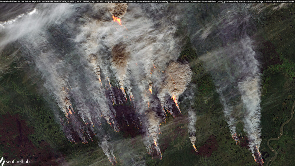 Several wildfires in the Sakha Republic, within the Arctic Circle, Russia (Lat: 67.00475, Lng: 150.96313) - July 22nd, 2020 Copernicus/Pierre Markuse